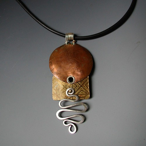 Pendant etched mixed metals etched copper and brass with for What metal is best for jewelry