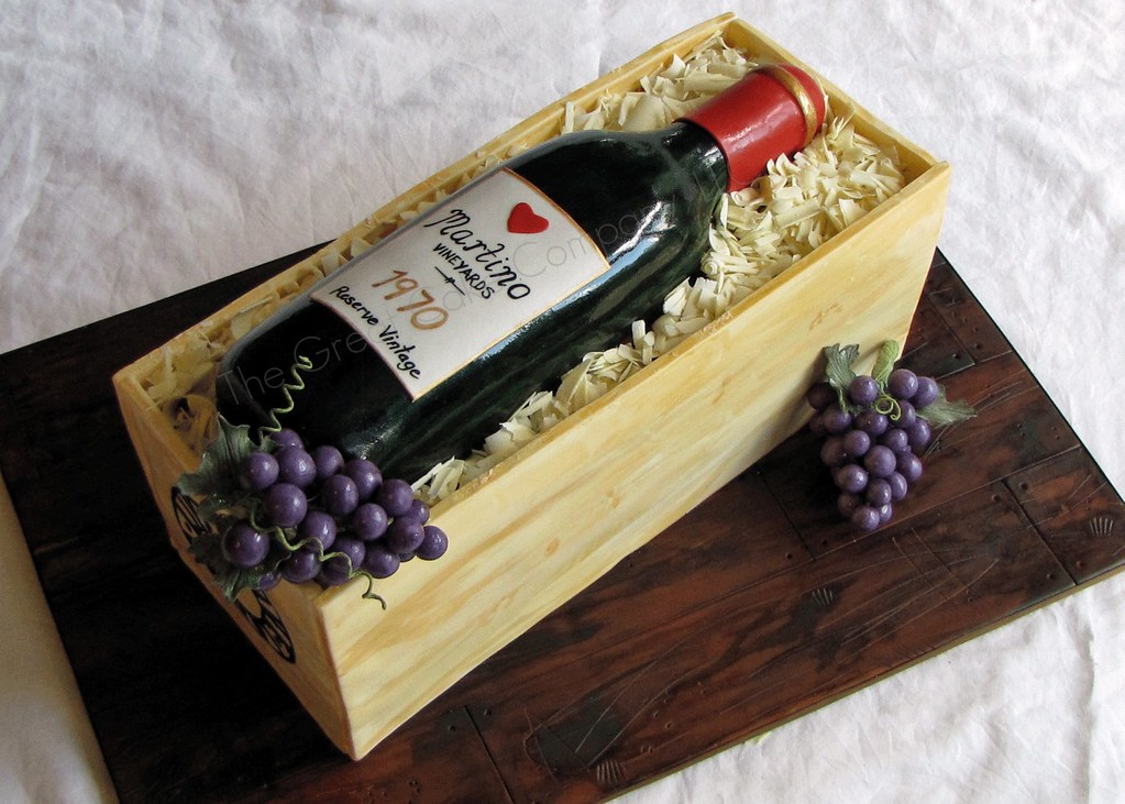 Wine Bottle Cake This was made to celebrate my parents ...