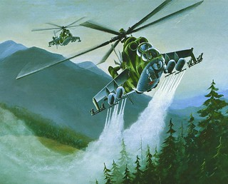 SOVIET MI-24 HIND DELIVERING CHEMICAL SPRAY | by Defense Intelligence Agency