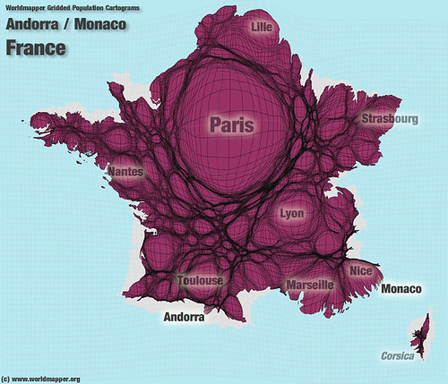 Andorra / France / Monaco Population Cartogram | by Worldmapper.org