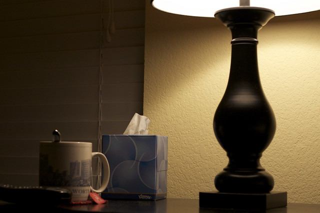 tissue box on night stand