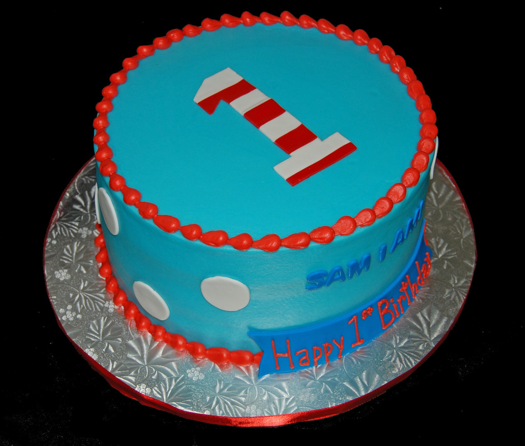 Blue And Red First Birthday Cake For A Dr Seuss Themed Cel
