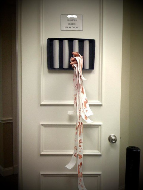 Decorating Ideas > Halloween Door Contest At Work  Flickr  Photo Sharing! ~ 074650_Halloween Asylum Door Prop