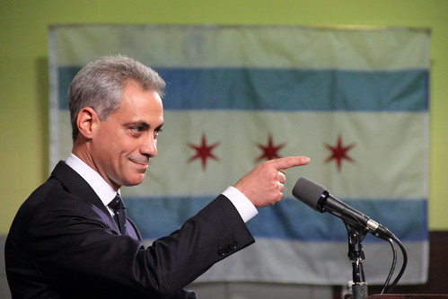 Rahm Emanuel, Pointing, With Chicago Flag in Background | by danxoneil