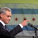 Rahm Emanuel, Pointing, With Chicago Flag in Background