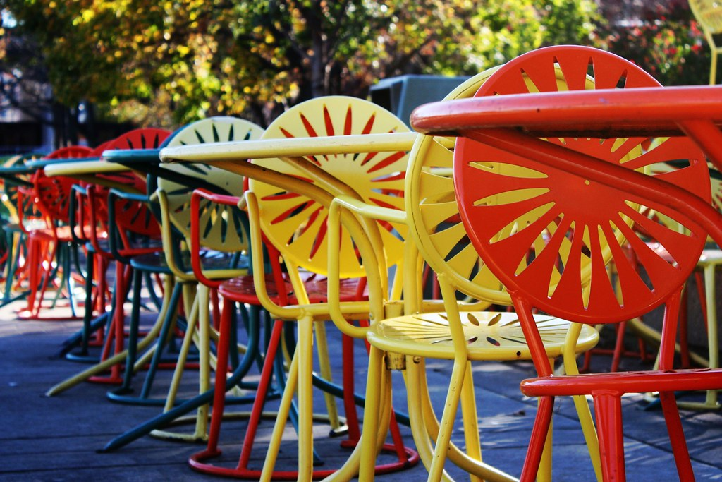 Uw madison memorial union chairs the colorful chairs of for Terrace uw madison