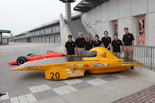 Western michigan students in front of the sunseeker solar for Indianapolis motor speedway com