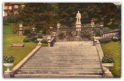 Terrace steps miller park preston tinted postcard for Terrace steps