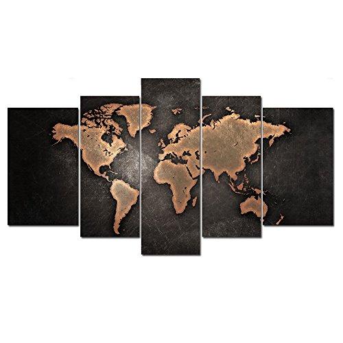 5 Panneaux Carte Du Monde Marron Abstrait Peinture L 39 Hui