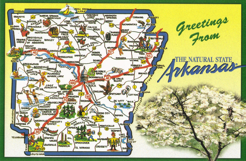 Arkansas Greetings State Map Postcard From My Mom Crayolamom - Map of the state of arkansas