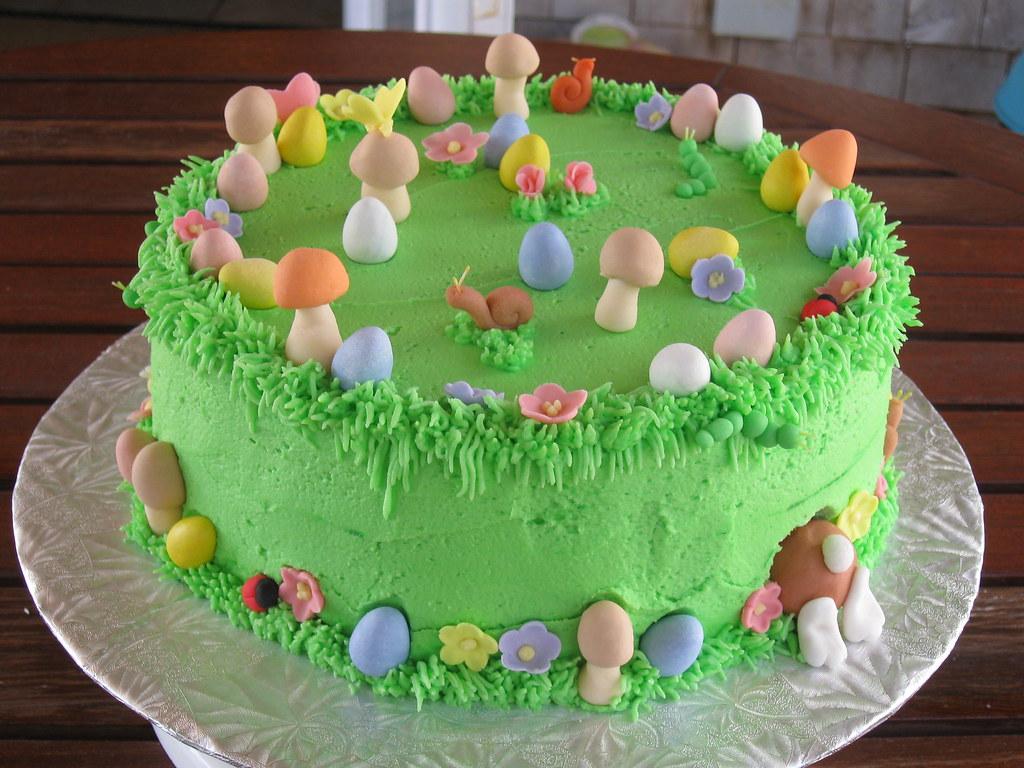 Easter cake easter egg hunt cake with the easter bunny for Easter garden designs