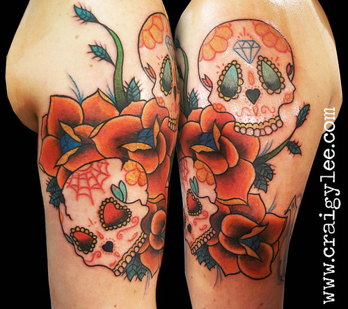 sugar skull roses tattoo | by craigy lee