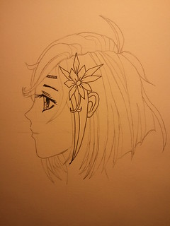 Manga Girl Profile - Step 4 - Starting Ink | by antic