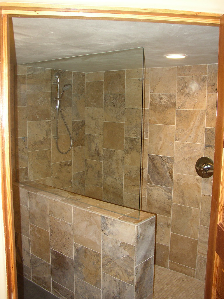 Basement Remodel With Travertine Tile Walk In Shower Flickr