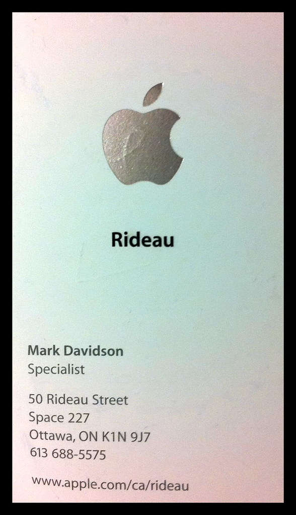 Business card of the apple specialist who helped me flickr business card of the apple specialist who helped me by peter ellis colourmoves