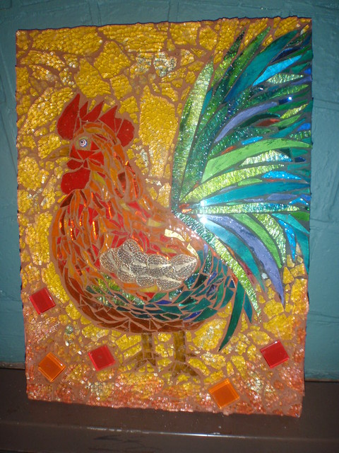 Rooster Mosaic Grouted In Terricotta And Black Tail