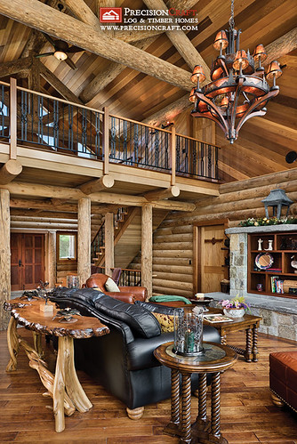 Log Home Great Room Loft Maine Log Homes Precisioncr