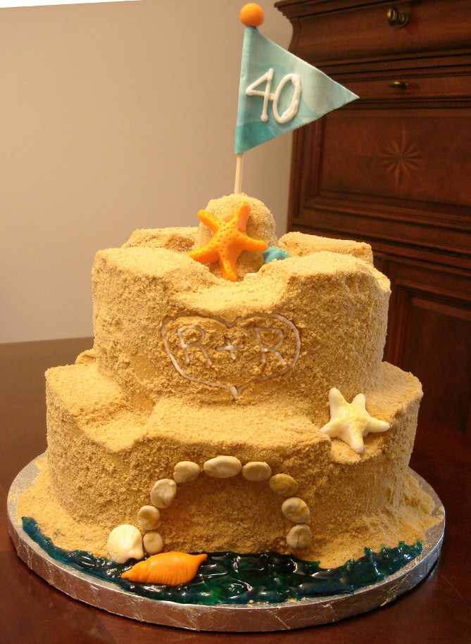 cute wedding cake 40th wedding anniversary cake this sand castle cake 13271