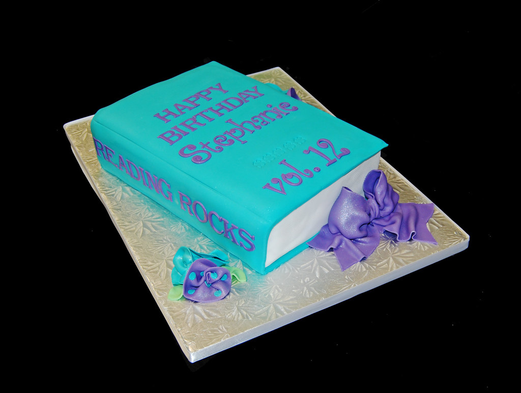 Cake Designs Book Shape : turquoise and purple 3D book cake for a 12th birthday Flickr