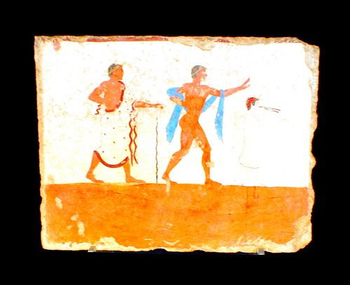 Paestum Tomb of the Diver 480BC, departure from the party of life led by a flautist, perhaps this portrays the dead young man | by Ahala
