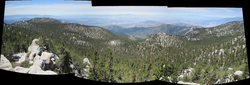 Panorama view from Jean Peak, with Marion Mountain, left, and Newton-Drury Peak, right of center