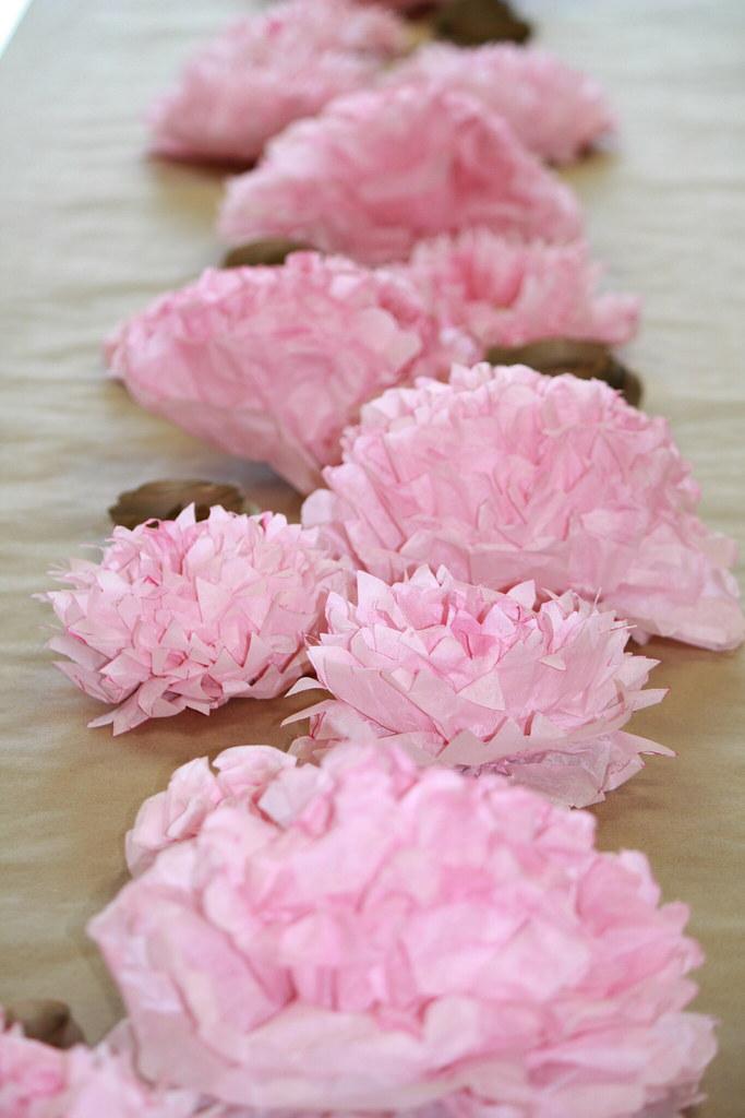 Tissue Flower Centerpiece A Dining Table Centerpiece