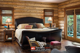 Log Home Master Bedroom | PrecisionCraft Log Homes | by PrecisionCraft Log & Timber Homes