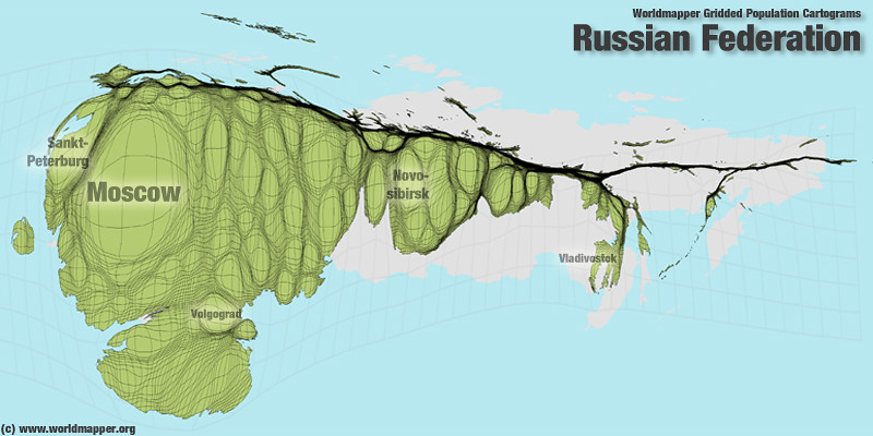 Russian Federation Population Cartogram A map from the Wor Flickr