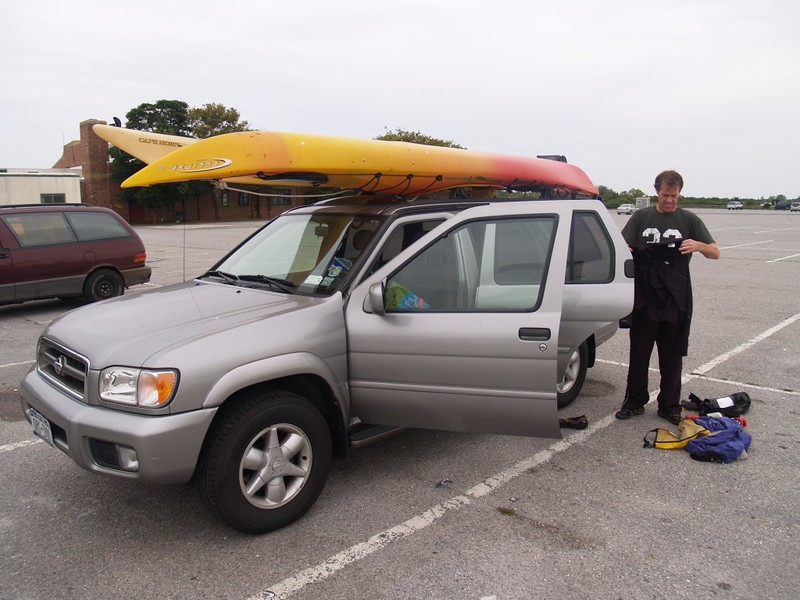 Getting the kayaks and gear from the truck parked at Jones Beach Field 10