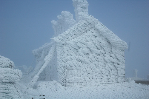 Summit Stage Office coated in rime ice(wind direction left to right) | by Mt.Washington Auto Road