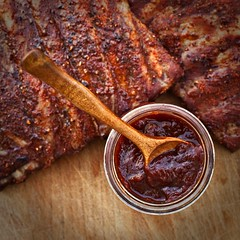 ancho chile barbecue sauce and pork ribs