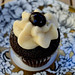 chocolate cupcake with bourbon caramel cream cheese frosting