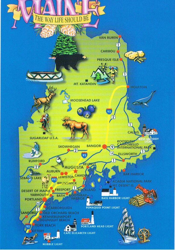 Maine map postcard 5 available maine the way life for Free land maine