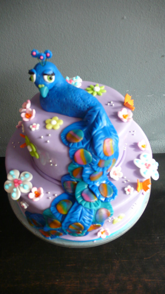 Peacock Birthday Cake For A Peacock Themed Birthday