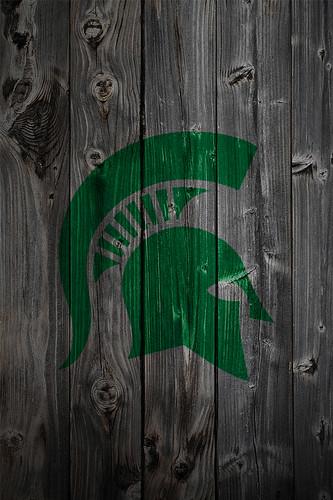 Michigan State Spartans Alternate Logo Wood iPhone 4 Backg ...