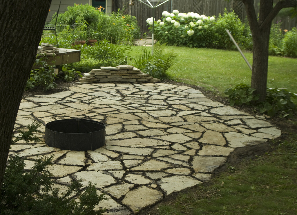 Flagstone Patio Dark Area Between Stones Is Our Own Moss