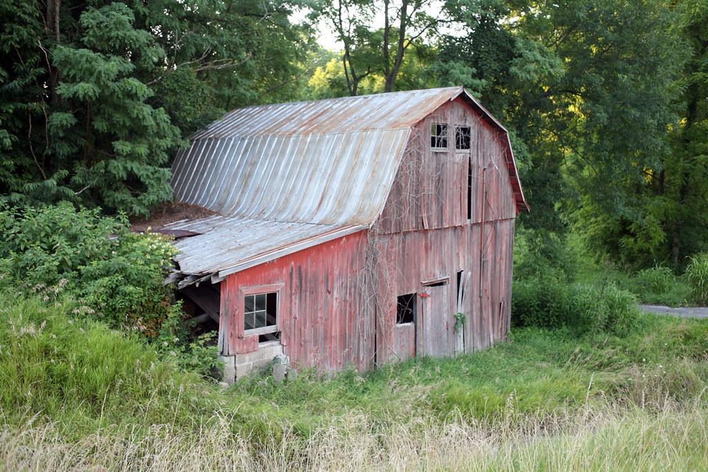 dilapidated barn - ohio river