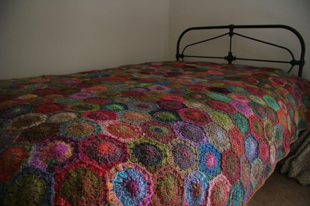 Noro Hexagon blanket | Noro silk garden bed cover for Jill ...