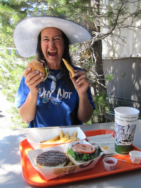 Our reward: Burgers and salty fries at the Tuolumne Meadows Grill. With ice cream for dessert!