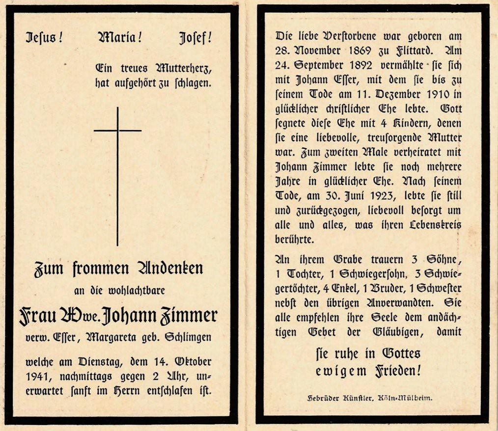 Totenzettel Schlimgen, Margareta † 14.10.1941