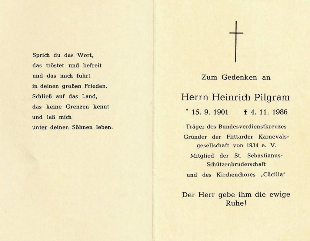 Totenzettel Pilgram, Heinrich † 04.11.1986
