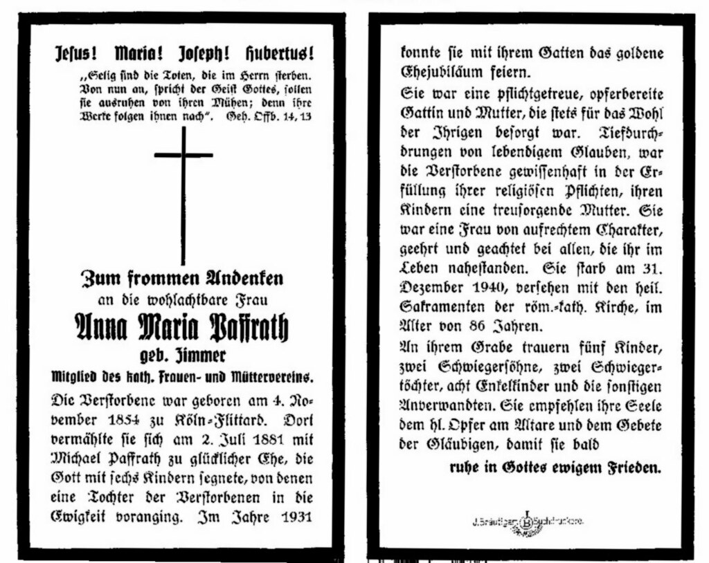 Totenzettel Paffrath, Anna Maria geb. Zimmer † 31.12.1940
