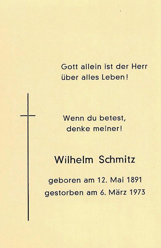 Totenzettel Schmitz, Wilhelm † 06.03.1973
