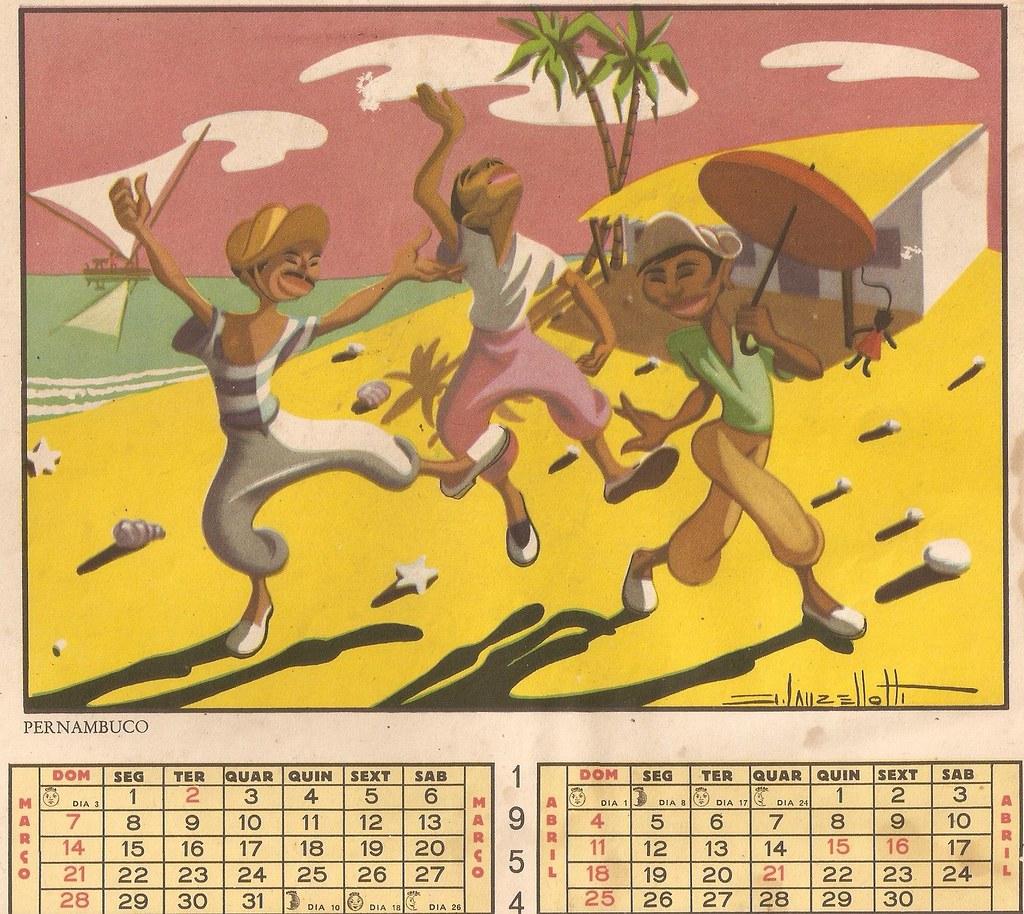 Calendario 1960.Calendario 1960 Ilustracao Jose Lanzellotti Jussara