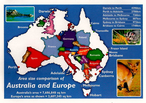 Superficie de l'Australie comparée à celle de l'Europe