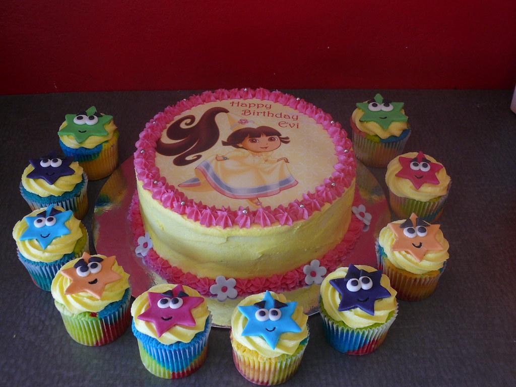 Dora Cake Recipe In English: Dora Princess Edible Image Cake With Matching Explorer Sta