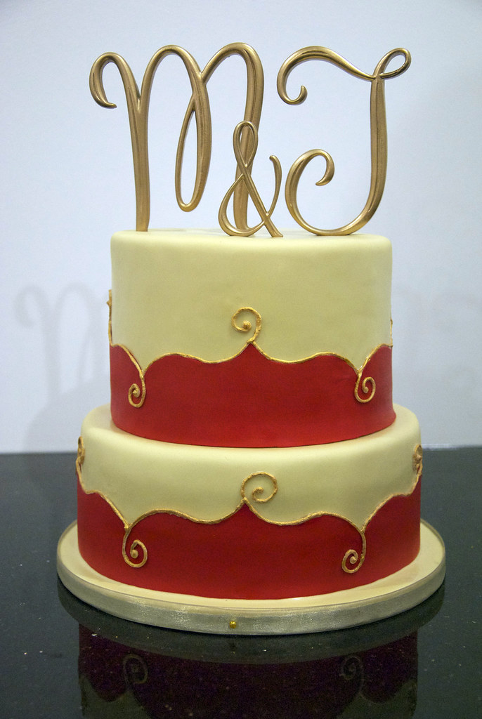 Red Ivory Gold Wedding Cakes