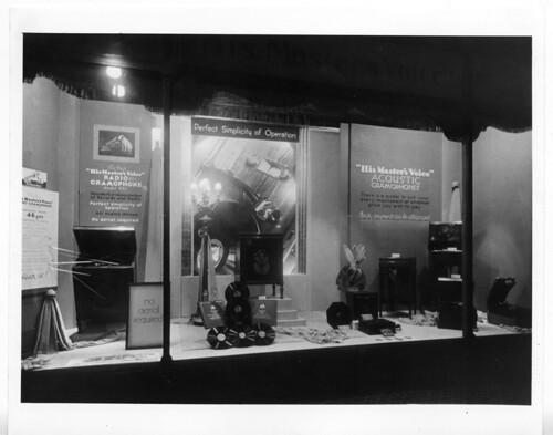 hmv 363 Oxford Street, London - Acoustic Gramophones window display 1920s