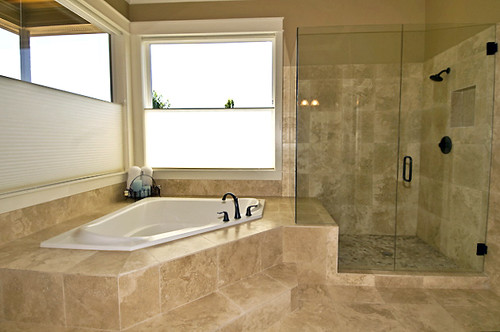 Travertine Bath and Glass Shower | by Sitka Projects LLC