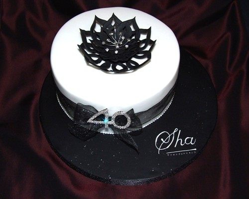 Black White And Bling Birthday Cake Fondant Covered